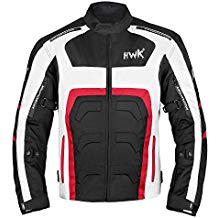 Textile Motorcycle Jacket Motorbike Jacket Breathable CE ARMORED WATERPROOF (Large, Red)